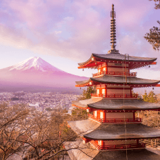 Mount Fuji on Honshu Island, Japan